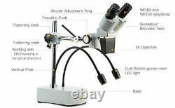 SWIFT 10X-20X Binocular LED Stereo Microscope Boom Arm with Dual Gooseneck Light