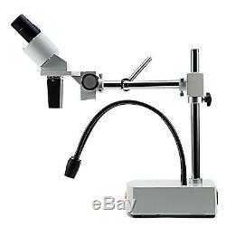 SWIFT 10X-20X Widefield 2 LED Gooseneck Binocular Stereo Microscope With Boom Arm