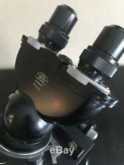 Vintage Carl Zeiss Compound Stereo Binocular Microscope Four Objective Lenses