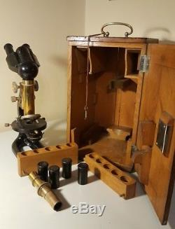 Vintage Carl Zeiss Jena Microscope Stereo Binocular Zeiss Objectives Eyepieces