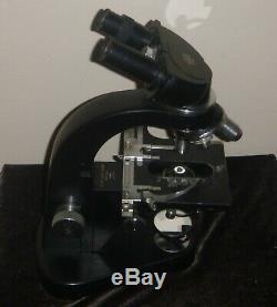 Vintage E. Leitz Wetzlar German Binocular Stereo Microscope Great Wooden Cabinet