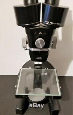 Vintage Leitz Wetzlar 2x Stereo Zoom Microscope, G8x Eyepieces, Glass Stage