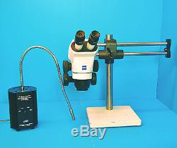 Zeiss Stemi 2000 Stereo Microscope, Boom Stand & Fiber light