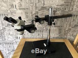 Zoom Stereo Microscope Binocular Rotatable Head Telescopic Arm Boom Stand